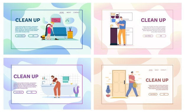 Vektorcharakterillustration des reinigens von hausszenen, der hausarbeit, der täglichen routine. mann wäscht geschirr in der küche, wirft müll. frau wäscht fenster und bad und saugt boden im wohnzimmer