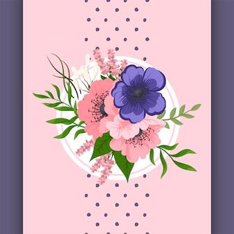 Vektordesign compozition mit den rosa und blauen blumen