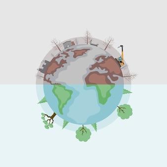 Vektordesign der erde unterteilt in verschmutztes und grünes