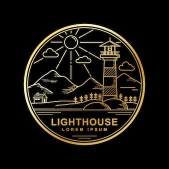 Vektordesign der goldenen farbe des leuchtturmes