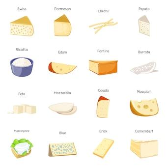 Vektordesign der lebensmittel- und käseikone. satz der lebensmittel- und produktvektorikone