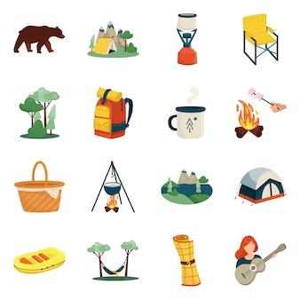 Vektordesign der picknick- und naturikone. sammlung des picknick- und reisevorratsymbols für netz.