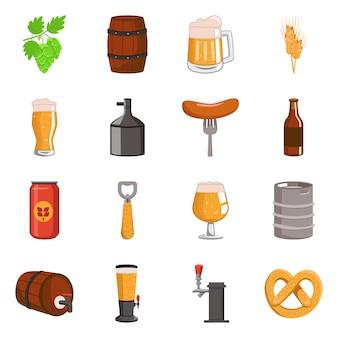 Vektordesign des bier- und barlogos. sammlung von bier und pub-set