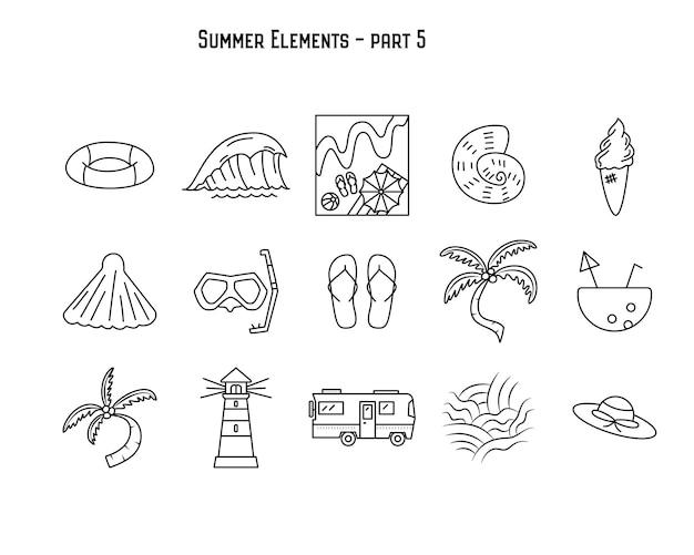Vektordesign des einfachen linearen satzes sortierter sommerelemente auf weißem lokalisiertem hintergrund. teil 5