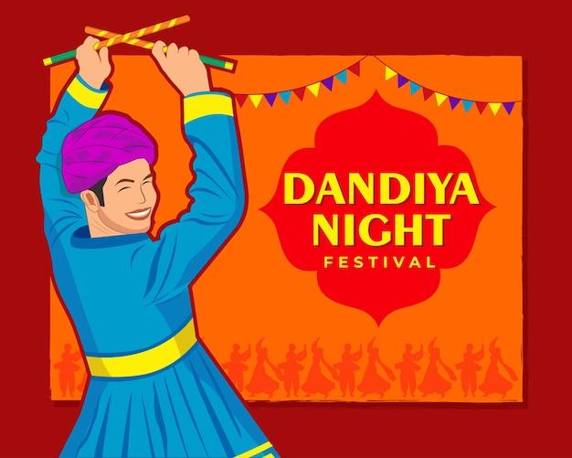 Vektordesign des indischen paares, das garba in dandiya night navratri dussehra festival of india spielt