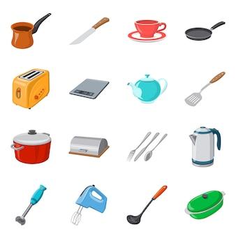 Vektordesign des küchen- und kochsymbols. sammlung des küchen- und geräteaktiensymbols für netz.