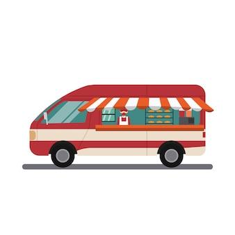 Vektordesign des modernen nahrungsmittellastwagens mit verkäufer