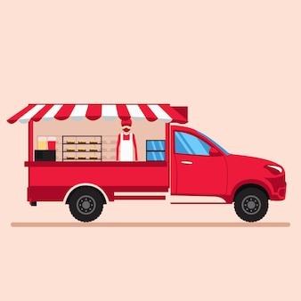 Vektordesign des nahrungsmittellastwagens mit verkäufer