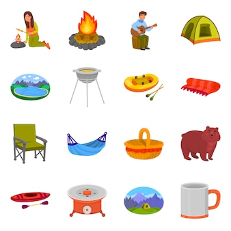 Vektordesign des picknick- und naturzeichens. sammlung des picknick- und reisevorratsymbols für netz.