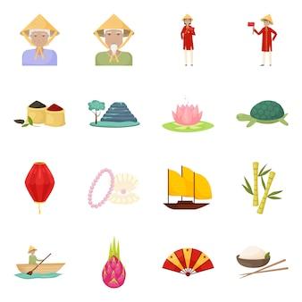 Vektordesign des vietnam- und tourismus-symbols. sammlung des vietnam- und reisevorratsymbols für netz.