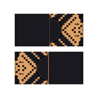 Vektordesign einer postkarte in schwarzer farbe mit einem slawischen ornament. einladungskartendesign mit platz für ihren text und vintage-muster.