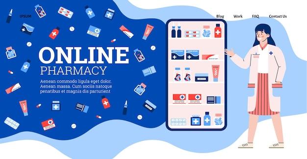 Vektordesign für die website des apothekenladens mit online-bestellung von medikamenten