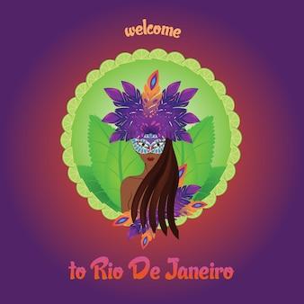 Vektordesign von brasilianischen mädchen. samba-tänzer aus rio de janeiro