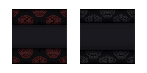 Vektordesign von postkarten-schwarzen farben mit gesicht mit chinesischen drachenmustern.