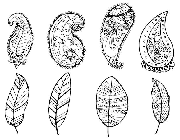 Vektordesign von weinlese mandala-gekritzelelementen
