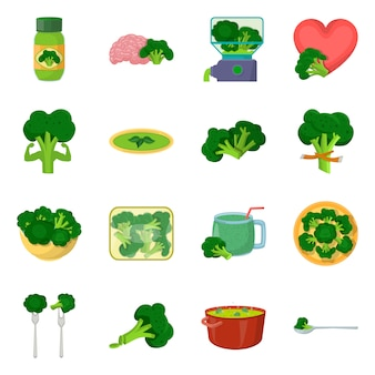 Vektordesignessen und -diät. stellen sie essen und gesundes aktiensymbol ein.