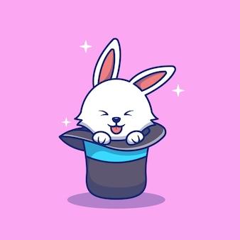 Vektordesignillustration eines kaninchens, das in einem magischen hut spielt premium isoliertes tierdesign