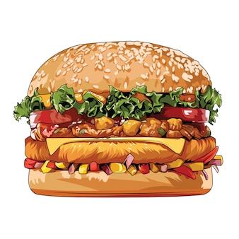 Vektorelement der ungesunden fertigkost der hamburger des straßenlebensmittels