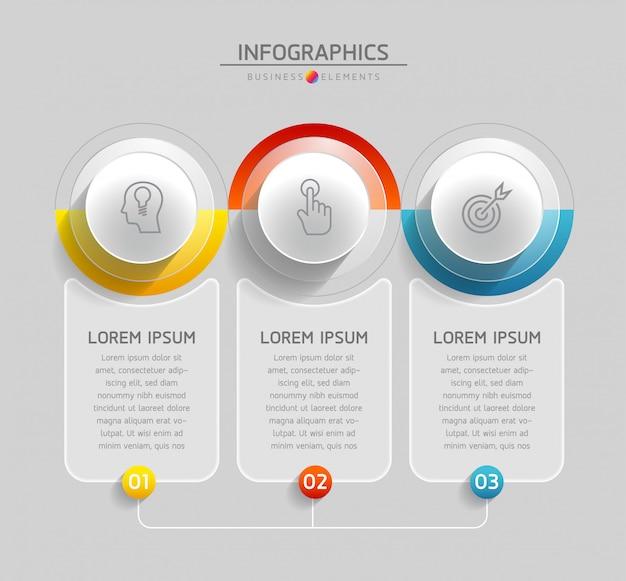 Vektorelemente für infografik. präsentation und diagramm. schritte oder prozesse. 3 schritte.