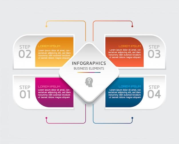 Vektorelemente für infografik. präsentation und diagramm. schritte oder prozesse. 4 schritte.