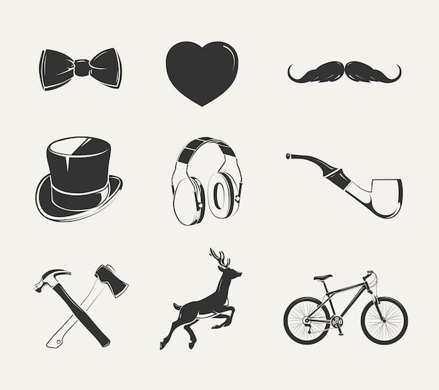 Vektorelemente für vintage hipster-etiketten