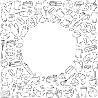 Vektorelemente von süßen snacks und gebäck, kaffeegerichten. hervorragend zum dekorieren von cafés und menüs. doodle-symbol-stil.
