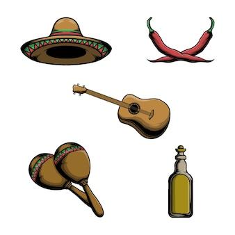 Vektorelementillustration des mexikanischen sombrerohutes