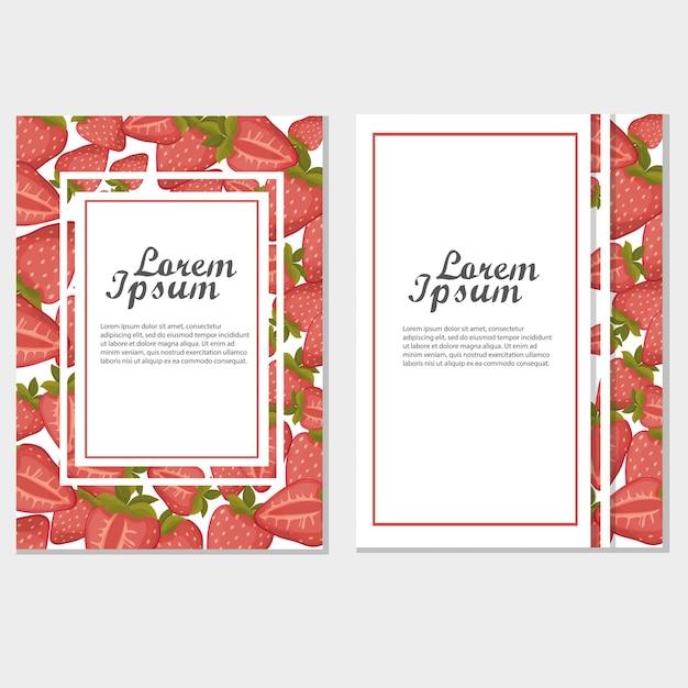 Vektorerdbeere vertikale fahnen auf weißem hintergrund. design für süßigkeiten und gebäck gefüllt mit erdbeeren, dessertmenü, bio-kosmetik, gesundheitsprodukte. mit platz für text