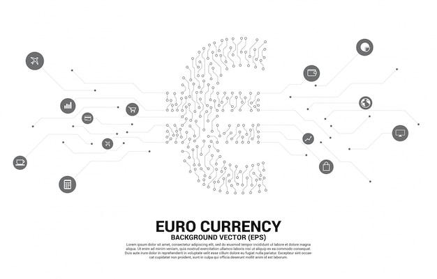 Vektoreurowährungs-geldikone vom leiterplatte-artpunkt schließen linie an. konzept für digitale wirtschaft und finanzielle netzwerkverbindung.