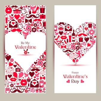Vektorfahnen eingestellt von valentine day