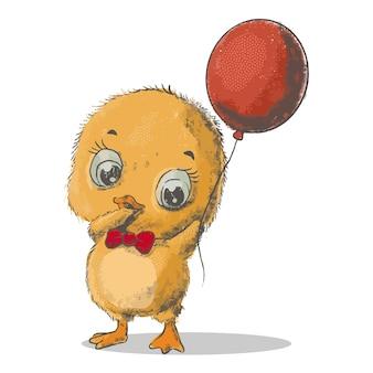 Vektorfarbillustration des netten gelben karikaturkükens mit großem rotem ballon auf weißem hintergrund. handgezeichnetes flaches design für web, website, grußkarte, einladung, aufkleber, t-shirt-druck