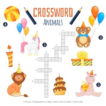 Vektorfarbkreuzworträtsel, bildungsspiel für kinder über tiere.
