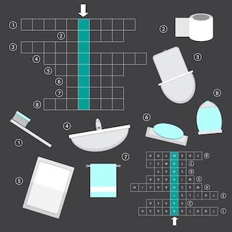 Vektorfarbloses kreuzworträtsel, bildungsspiel für kinder über badezimmer - interieur - spiegel, badewanne, toilette, waschbecken, handtuch, seife und mehr.