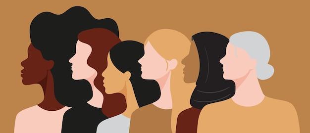Vektorfeminismuskonzept mit frauen verschiedener rassen und altersgruppen, die zusammenstehen