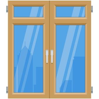 Vektorfenster draußen mit wolkenkratzern, die reflexion aufbauen
