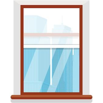 Vektorfenster mit wolkenkratzerhauskarikaturansicht