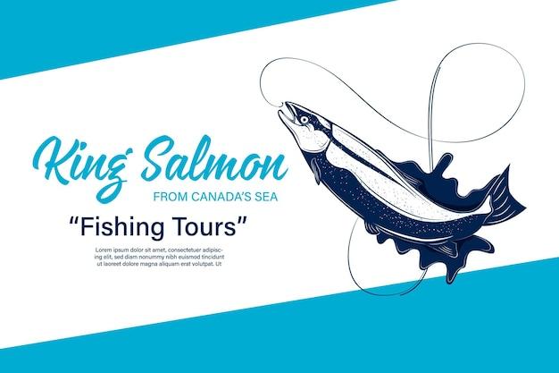 Vektorfischereilogo mit lachsfisch, angelrute, schnur, haken und wasserspritzer. illustrationen zu angelturnieren, touren und camps