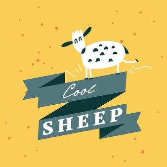 Vektorflache illustrationskarte mit weißem lamm. lustige charaktere für kinder. cartoon-stil.