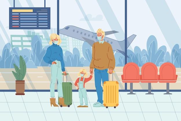 Vektorflache zeichentrickfiguren im flughafen während der pandemiereisenden familie mit gepäck