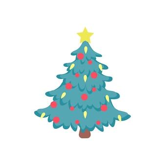 Vektorflaches bild des weihnachtsbaums mit roten luftballons und leuchtend gelbem stern oben