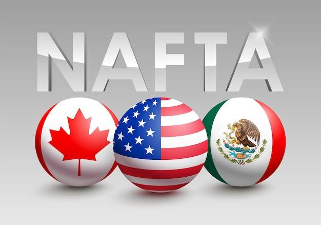 Vektorflaggen der nafta-länder in form einer kugel. kanada, vereinigte staaten von amerika und mexiko. politische und wirtschaftliche vereinbarung