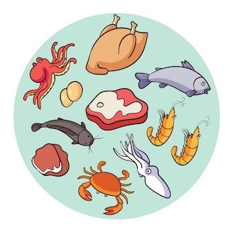 Vektorfleisch und fisch, die protein produzieren