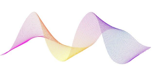 Vektorfließende wellenlinien mit digitaler frequenzspur mit regenbogengradienten und sprach-equalizer