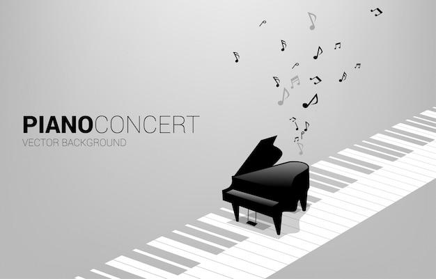 Vektorflügel mit auf klaviertaste und musiknote. konzepthintergrund für lied- und konzertthema.