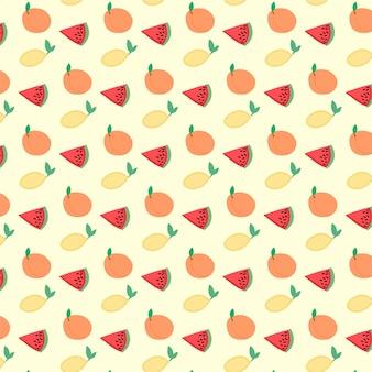 Vektorfrucht nahtlose muster saftige wassermelonen orangen zitrone
