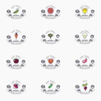Vektorfruchtfahnen stellten eco-nahrungsmittel ein