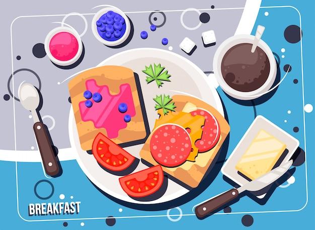 Vektorfrühstück mit nahrung und getränken. frühstücks- und brunchsdraufsichtrahmen.
