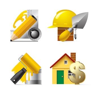 Vektorgebäude-website und internet-symbole Premium Vektoren