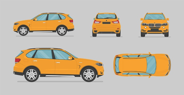 Vektorgelbes suv-auto von verschiedenen seiten