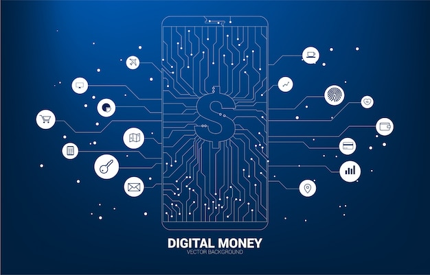 Vektorgeld-dollarikone auf handyschirm vom punkt schließen linie leiterplatteart an.